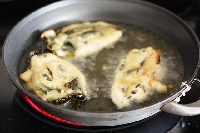 frying the poblanos