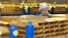 Queen inspecting gold vault