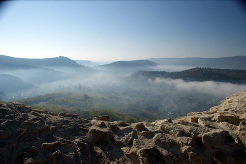 blue mountains castle clouds landscape morningfog sirok