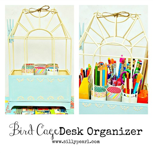 Bird Cage Desk Organizer with Recycled TP Rolls - The Silly Pearl