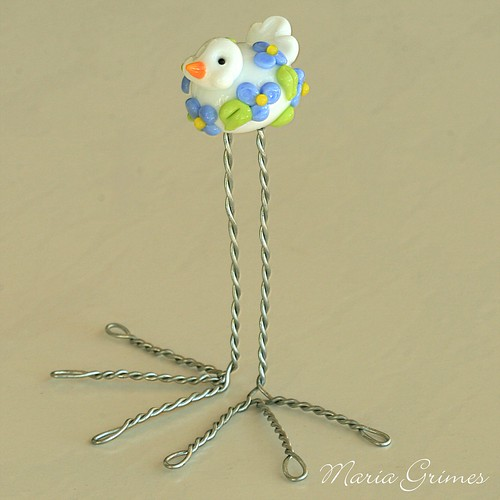 Forget-Me-Not Lampwork Bird