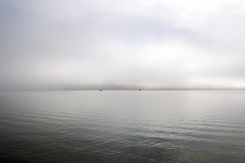 Fishing vessels on the foggy Kaipara Harbour