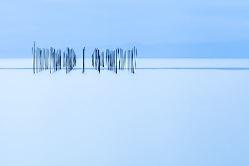thin piles on blue water