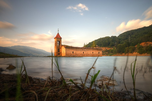 mariusz kluzniak europe balkans macedonia mavrovo lake church sunken ruins architecture historic sunset long exposure