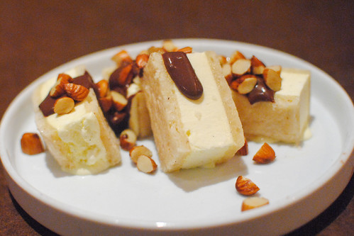 eggnog 'ice cream' sandwich, sherry chocolate coulis