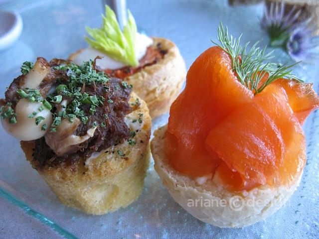 Cowichan Bay Farms duck confit & Fraser Valley mushroom vol-au-vent, green tea cured wild salmon lox, roasted garlic Boursin on black pepper brioche, vine-ripened tomato & David's goat cheese tart