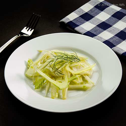Shaved Fennel Salad on Plate, with Fork and Napkin