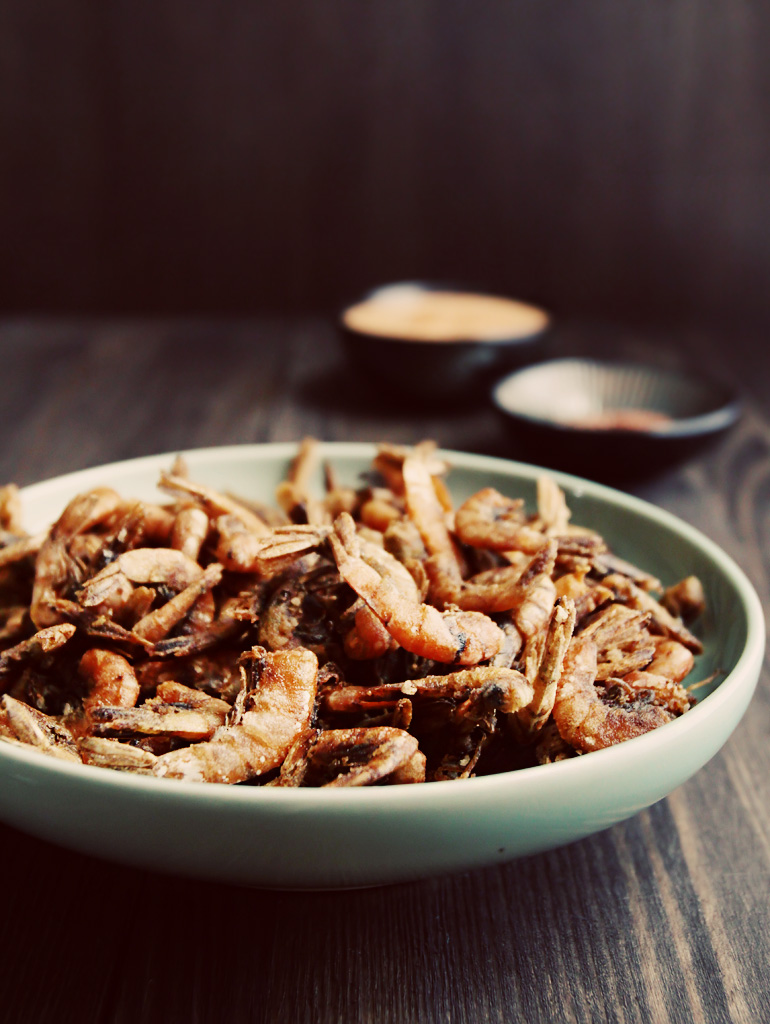 Fried Spicy School Prawns with Kimchi Mayo and Paprika Salt
