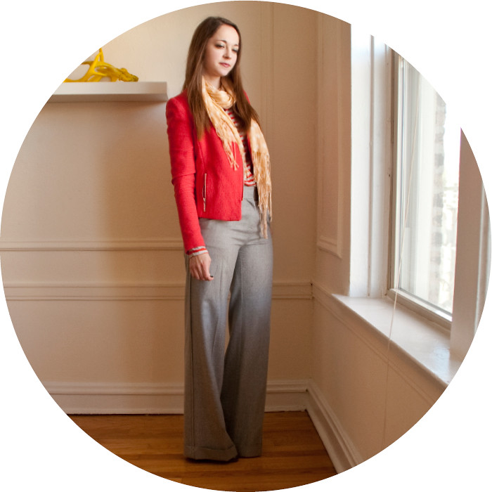 february outfit, bright jacket, gray pants, peach, hot pink, and light gray, j.crew hutton pants, creative young professional, work outfit ideas