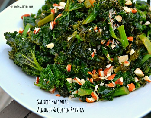 sauteed kale with almonds & golden raisins
