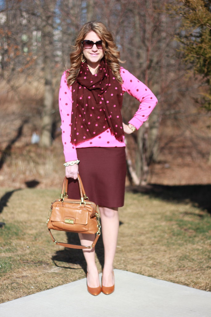 Double Dots: Pink polka dot sweater and burgandy and pink scarf