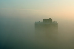 [Free Images] Architecture, Large Buildings, Sunrise / Sunset, Fog / Mist, Landscape - United Kingdom ID:201302252000
