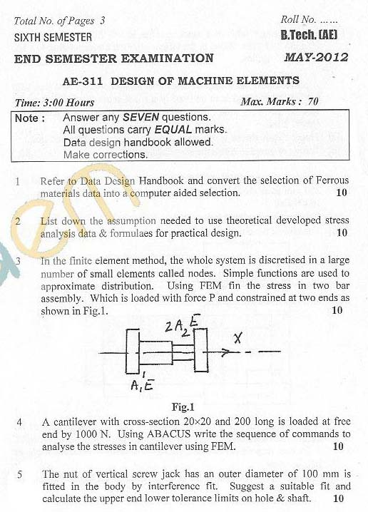 DTU: Question Papers 2012 - 6 Semester - End Sem - AE-311