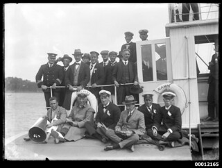 Crew and officials of the Pittwater Regatta on NAMOI, Sydney Harbour