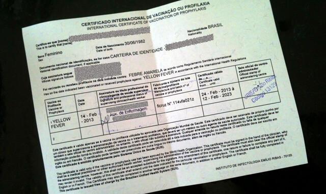 Certificado Internacional de Vacinação e  Profilaxia 2