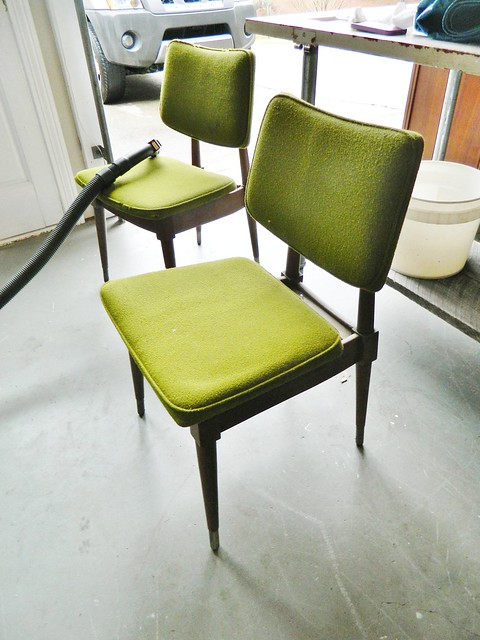 danish modern chairs with original green upholstery