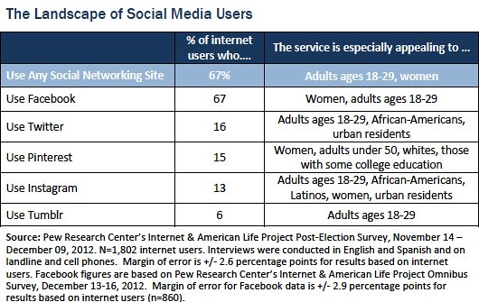the landscape of social media users in US