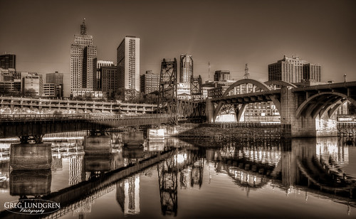 St. Paul Riverfront in Black and White