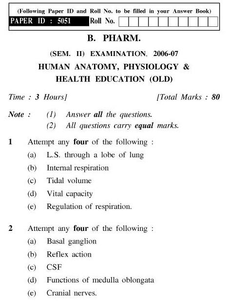 UPTU B.Pharm Question Papers PH-123(O) - Human Anatomy, Physiology & Health Education (Old)