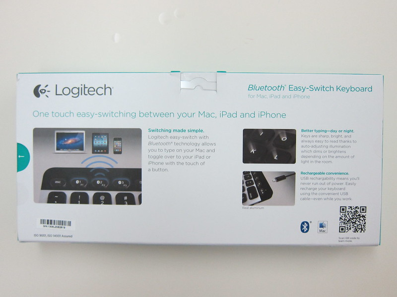Logitech Bluetooth Easy-Switch Keyboard - Box Back