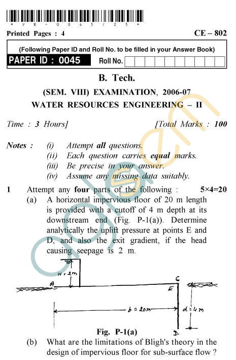 UPTU B.Tech Question Papers - CE-802 - Water Resources Engineering – II