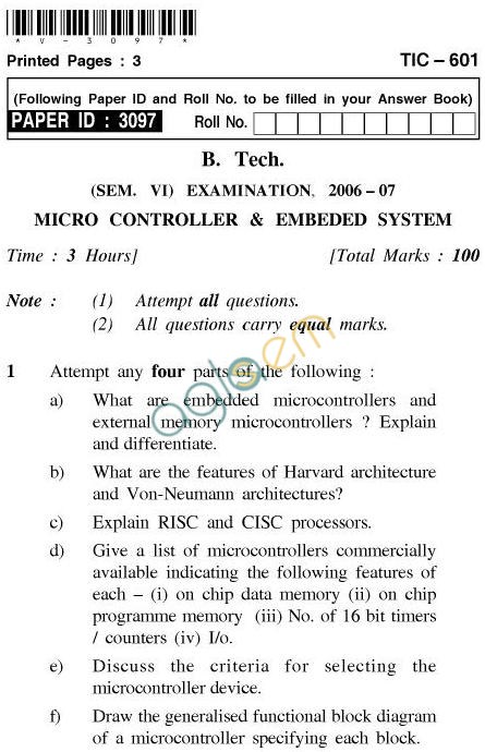 UPTU: B.Tech Question Papers -TIC-601-Microcontroller & Embedded System