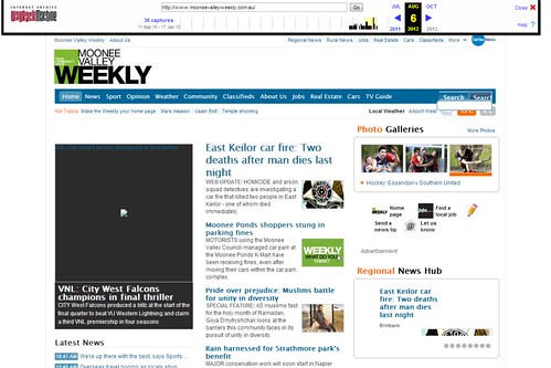 Older version of the 'Moonee Valley Weekly' homepage