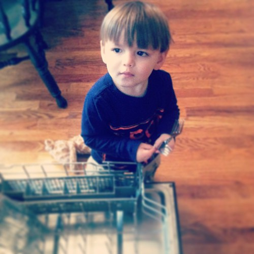 The #process of emptying the #dishwasher may take longer with his help but I wouldn't  have it any other way :) #projectlife365