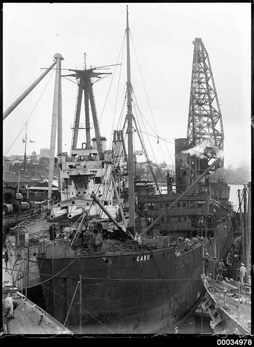 SS GABO berthed with HMAS AUSTRALIA I at Garden Island