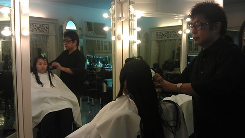 Jaja having a hair makeover with Mr. Tony Galvez