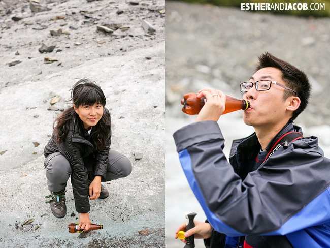 Drinking Glacier at Fox Glacier New Zealand.