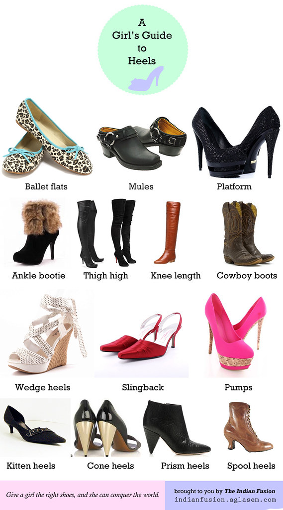 Different shoes and heels for women