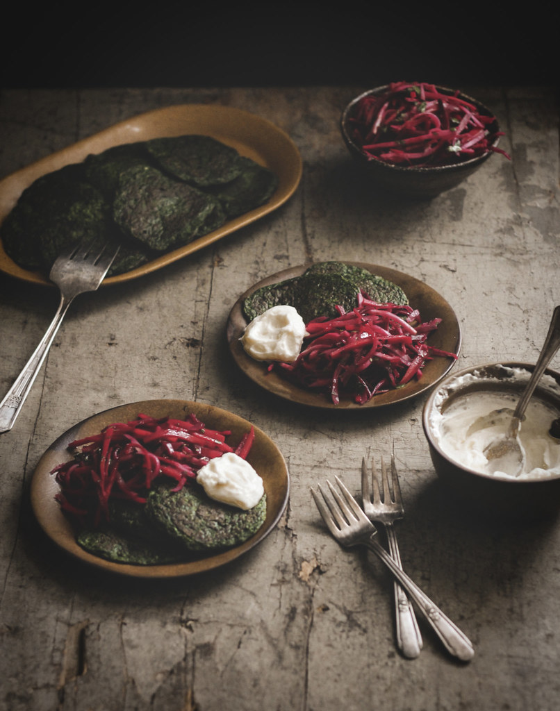 Root Vegetable Slaw & Swiss Chard Fritters