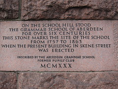 Photo of Grammar School of Aberdeen stone plaque