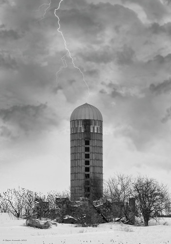 Silo in the storm