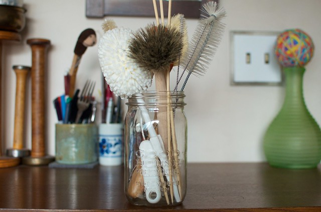 scrub brush jar