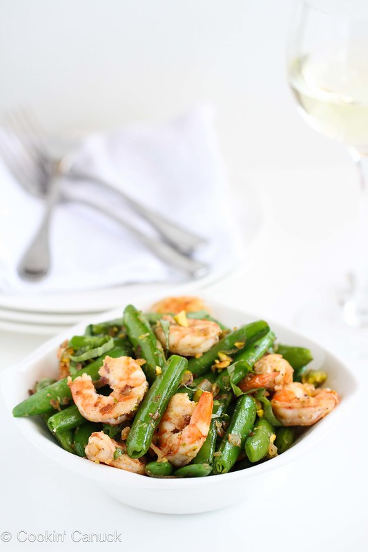 Sautéed Shrimp, Snap Peas & Pistachios with Basil Recipe #recipe #healthy