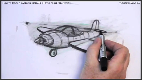 learn how to draw a cartoon airplane in two point perspective 039
