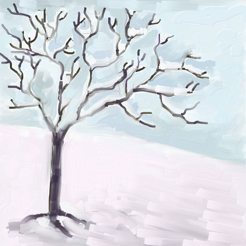 Snow and Tree (Digital Impasto) by randubnick