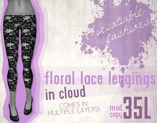[IF] Lazy Sunday Item: Floral Lace Leggings in Cloud