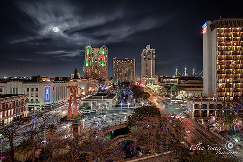 street longexposure sky usa moon building skyline night sanantonio work landscape photography lights ellen san long exposure downtown cityscape texas friendship picture full trail torch antonio hdr riverwalk christmaslight the yeates ellenyeates