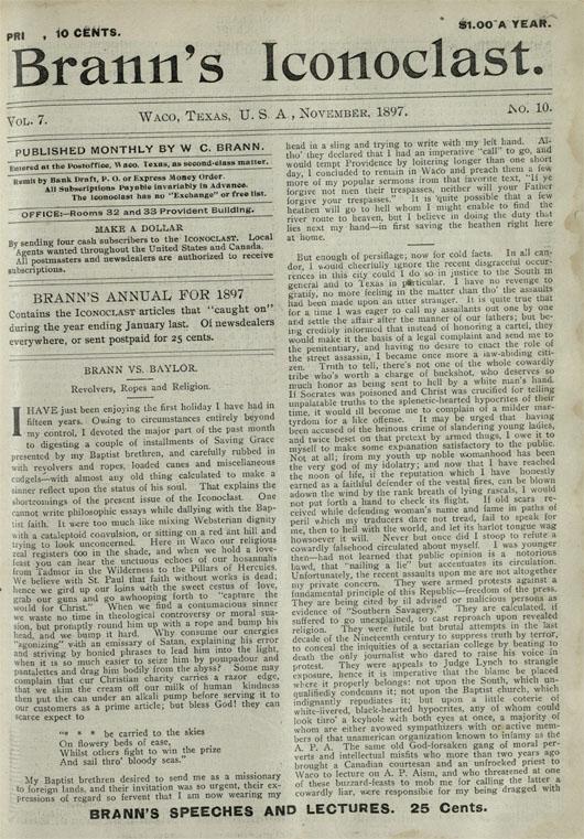 Brann's Iconoclast, November 1897