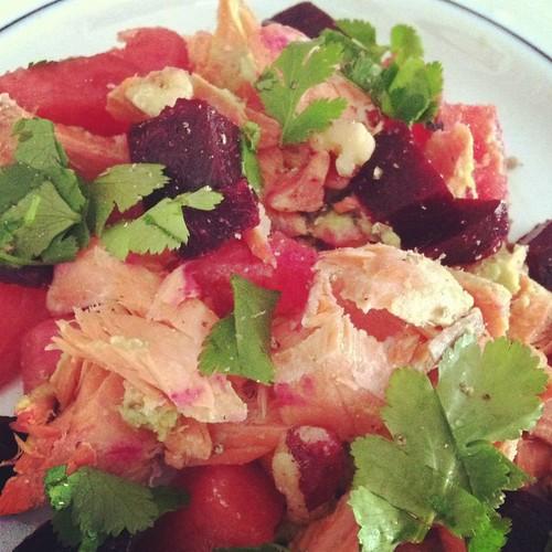 Watermelon Beet Salmon Salad