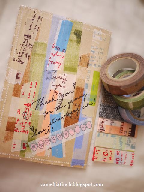 用紙膠帶裝飾信封