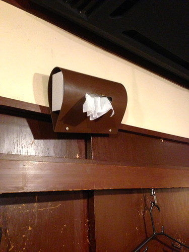 Tissue paper wall mount while eating Hakata Ramen