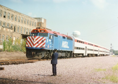 Metra commuter train prepares to depart from Harvard Illinois.  June 1996. by Eddie from Chicago