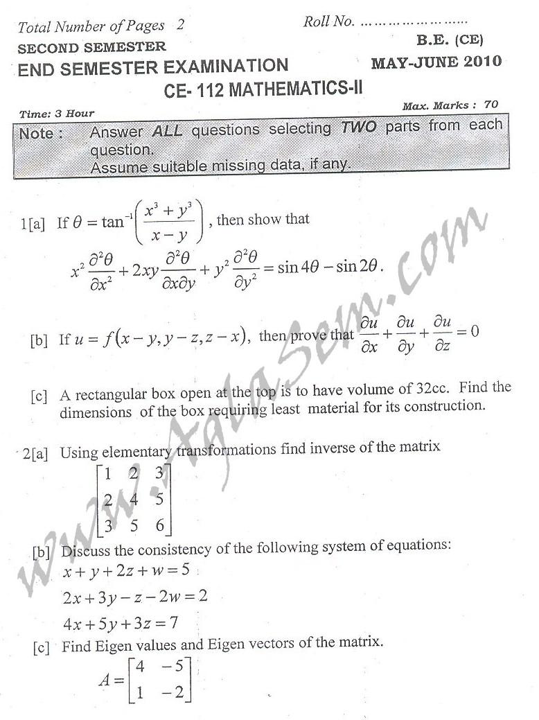 DTU Question Papers 2010 – 2 Semester - End Sem - CE-112