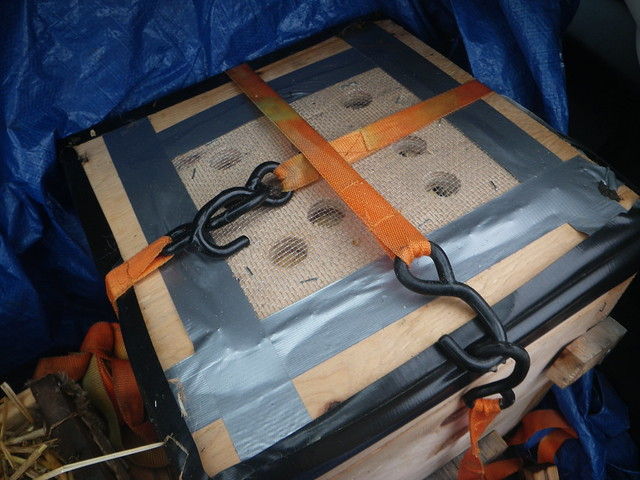 ratchet straps and venilated cover for transporting bee hive