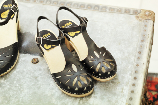 black lacy Swdish Hasbeens sandals