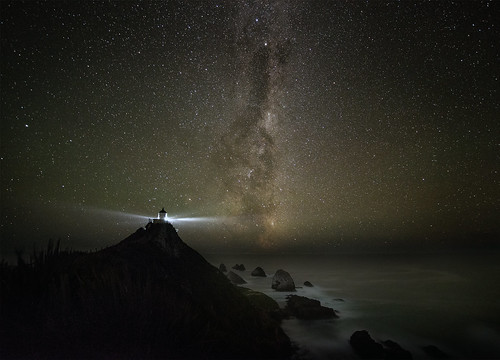 Nugget point light house and milkyway
